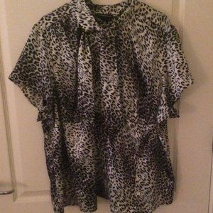 Lane Bryant Satin Blouse Black Gray Leopard Print